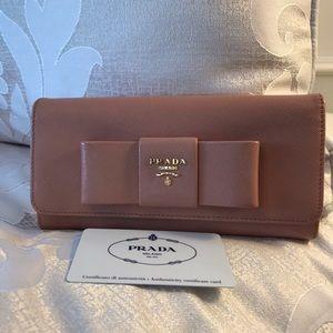 Prada Bow Saffiano Fiocco wallet